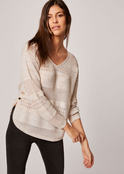 Pull manches longues tricotage ajoure beige femme
