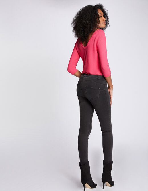 Pull manches 3/4 avec dos ouvert rose femme