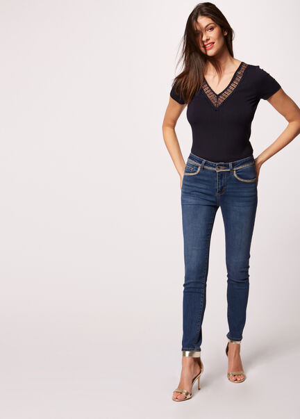 Jeans slim taille standard a chaines jean stone femme
