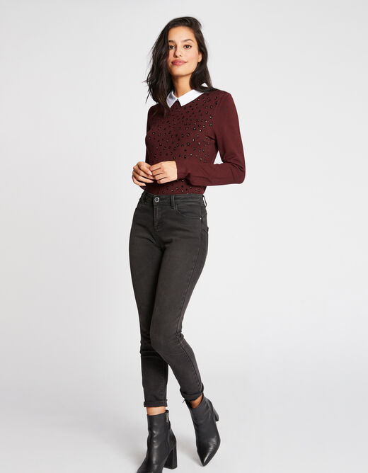 Pull manches longues col chemisier rouge vin femme