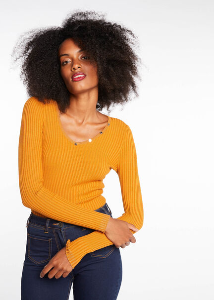 Pull manches longues detail boutons ocre femme