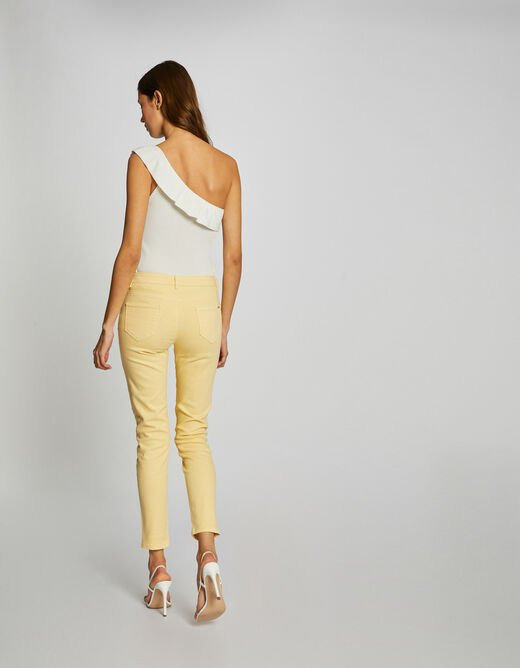 Jeans skinny taille basse jaune femme