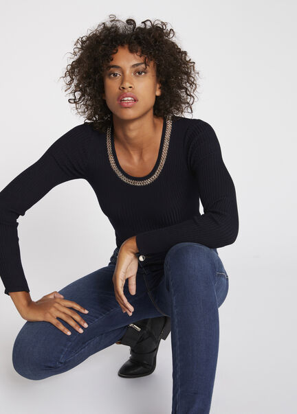 Pull manches longues col detail chaines marine femme