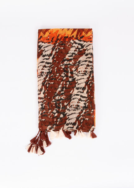 Foulard a imprime animalier marron femme