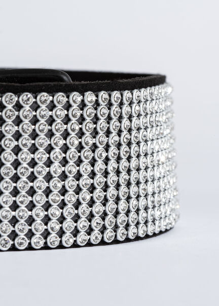 Ceinture large elastiquee a strass argente femme