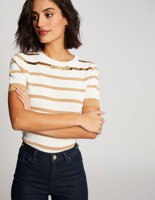 Pull manches courtes rayures sequins ecru femme