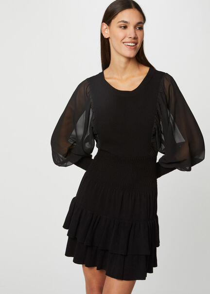 Robe pull ajustee a manches bouffantes noir femme