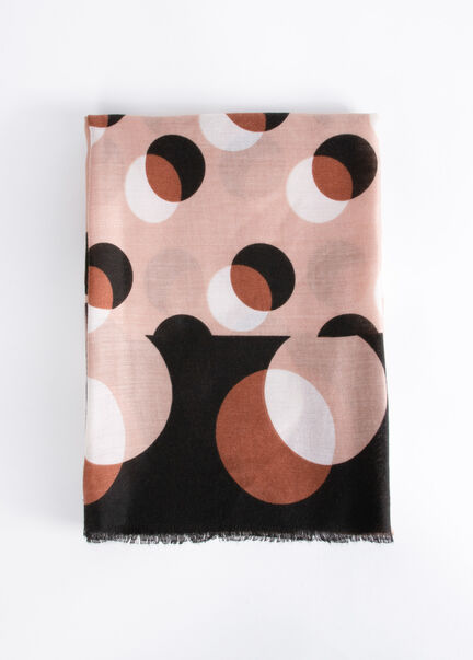 Foulard a imprime geometrique rose femme