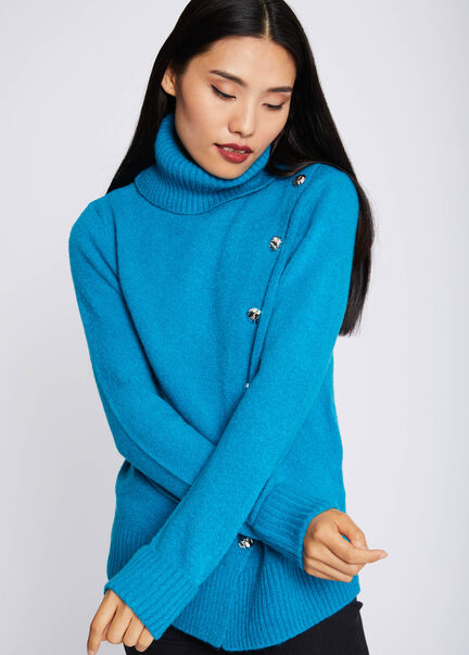 Pull col roule manches longues bouton or turquoise femme