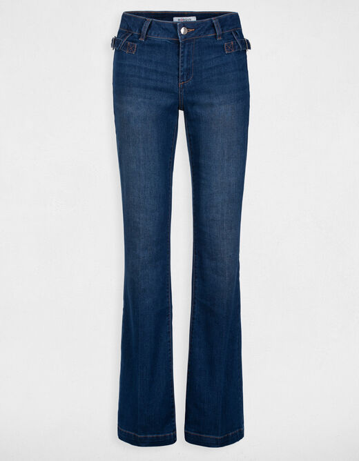 Jeans bootcut taille standard à boucles jean stone femme