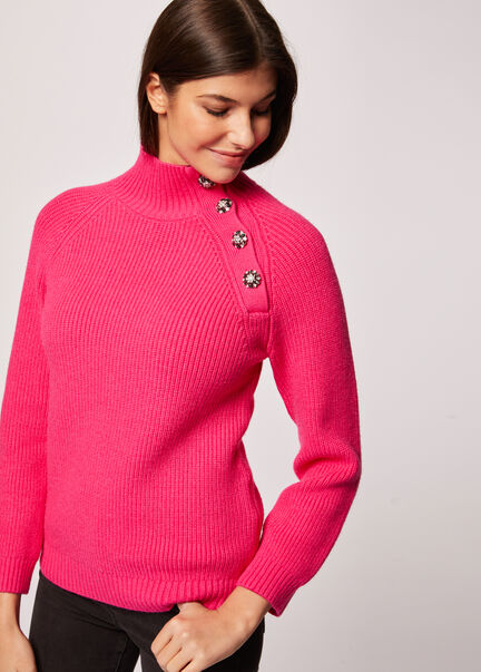 Pull manches longues boutons strass fuchsia femme