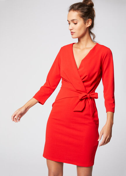 Robe cache coeur ajustee manches 34 rouge femme