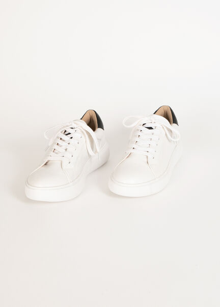 Sneakers plates compensees blanc femme