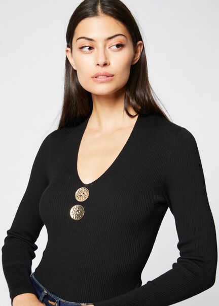 Pull manches longues 2 boutons noir femme