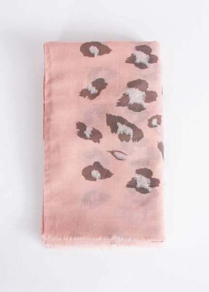 Foulard a imprime leopard rose femme