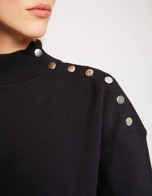 Pull manches longues col montant marine femme