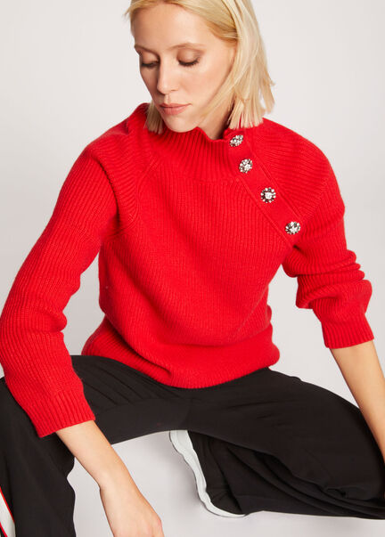 Pull manches longues boutons strass rouge femme