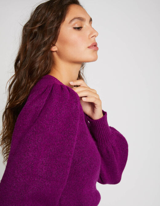 Pull manches longues bouffantes violet femme