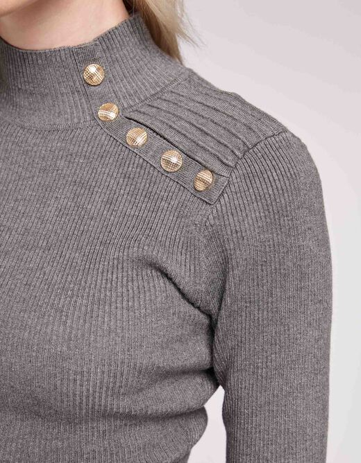 Pull manches longues 5 boutons gris anthracite femme