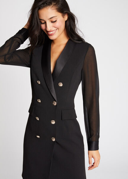 Robe portefeuille boutonnee col a revers noir femme