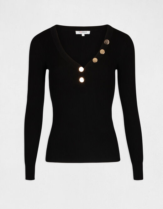 Pull manches longues boutons maille fine noir femme