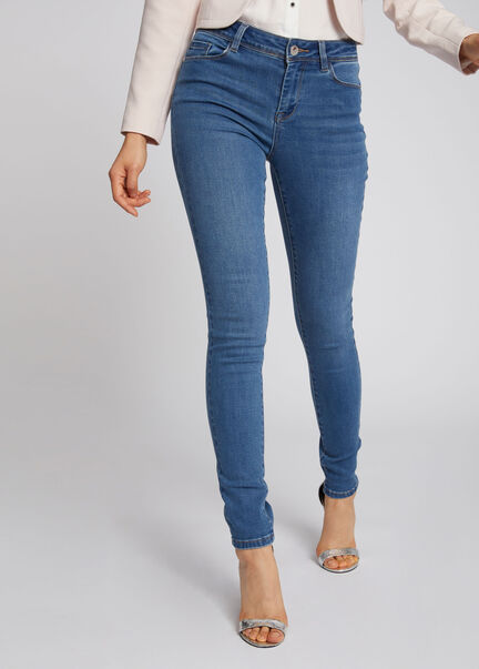 Jeans slim taille standard a poches jean bleached femme
