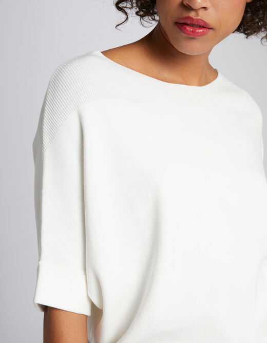 Pull manches 3/4 à ourlets ecru femme