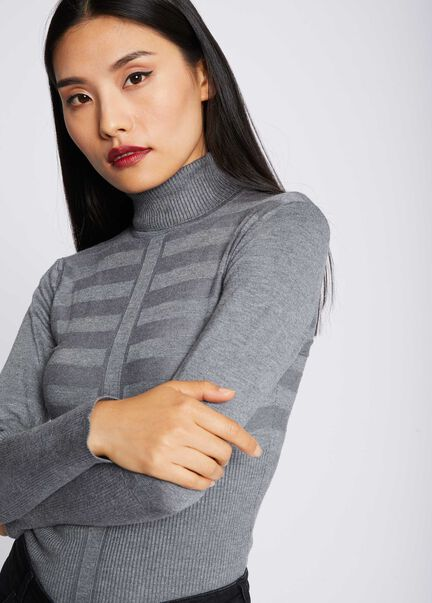 Pull manches longues col roule gris anthracite femme