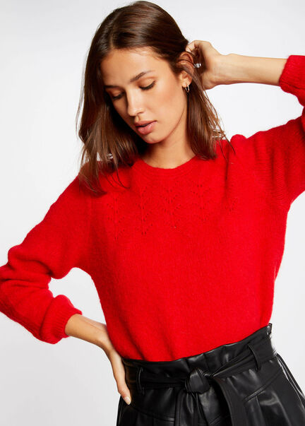 Pull manches longues a col rond rouge femme