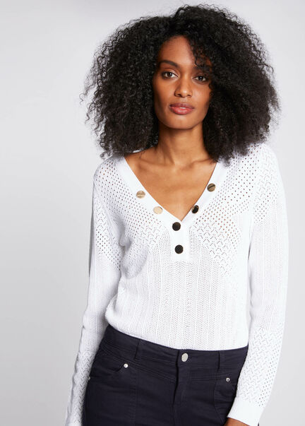 Pull manches longues avec boutons blanc femme