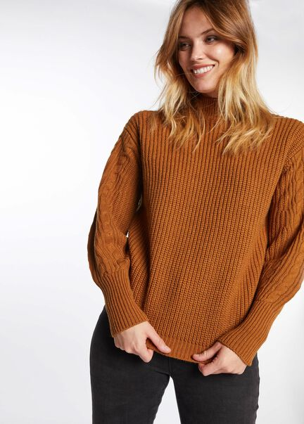 Pull manches longues col montant caramel femme