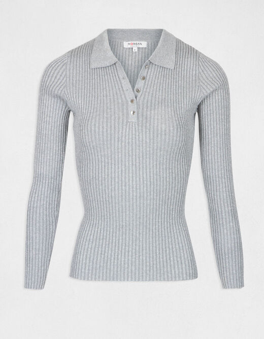 Pull manches longues maille fine boutons argente femme