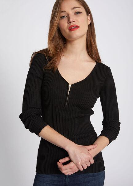 Pull maille cotelee col zippe noir femme