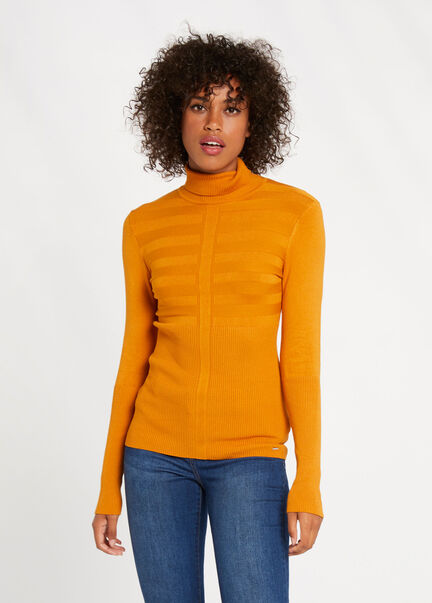 Pull manches longues col roule moutarde femme
