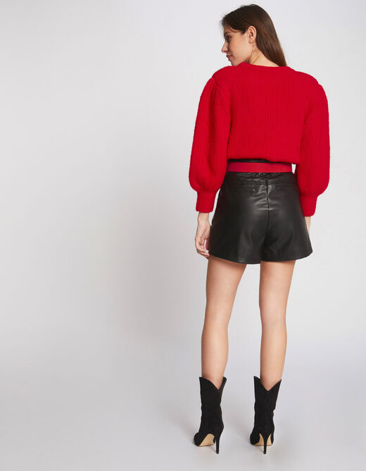 Pull manches longues bouffantes rouge femme