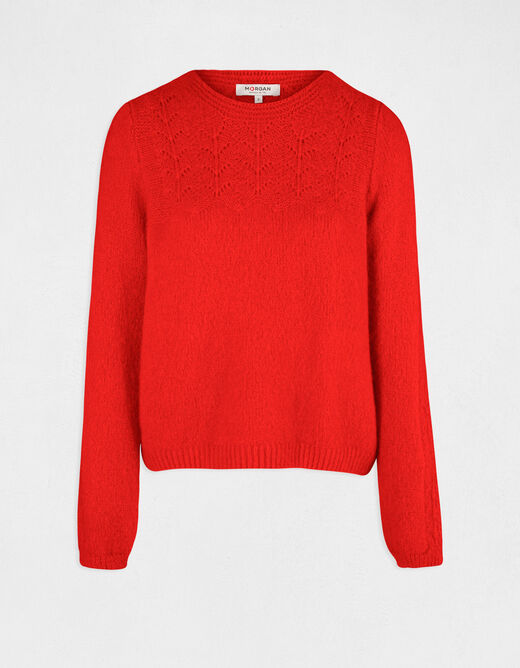 Pull manches longues à col rond rouge femme