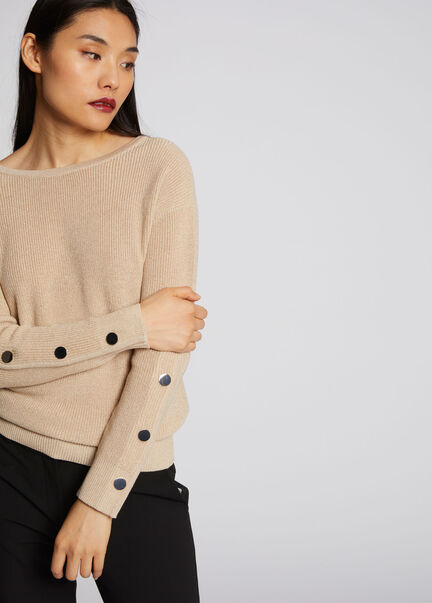 Pull manches longues avec boutons beige femme