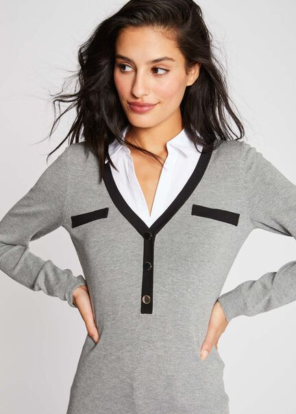 Pull manches longues col V chemisier gris moyen femme