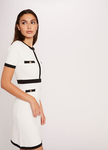 Robe pull droite a bandes contrastantes ecru femme