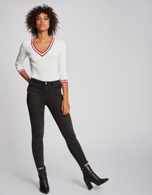 Pull manches 3/4 bandes contrastantes ecru femme