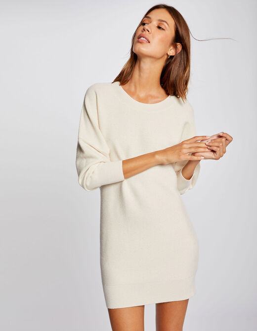 Robe pull droite manches longues ivoire femme