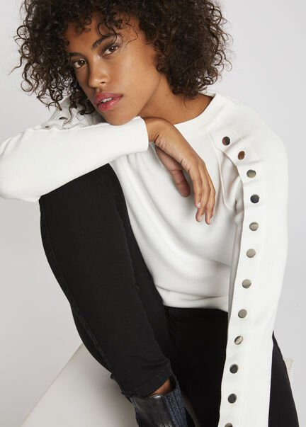 Pull manches longues a boutons pression ecru femme