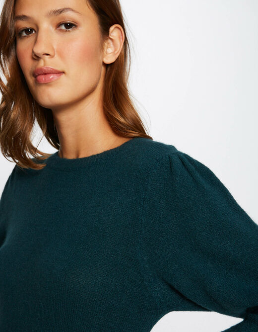 Pull manches 3/4 avec col rond vert fonce femme