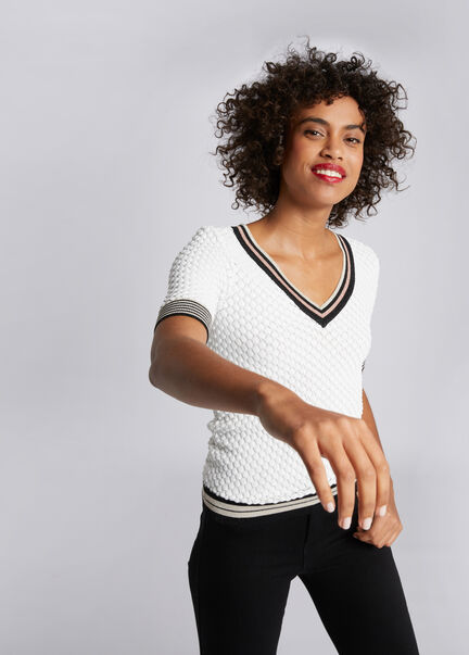 Pull manches courtes tricotage ajoure ecru femme
