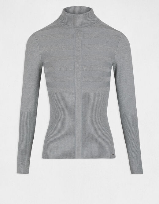 Pull manches longues col roulé gris anthracite femme