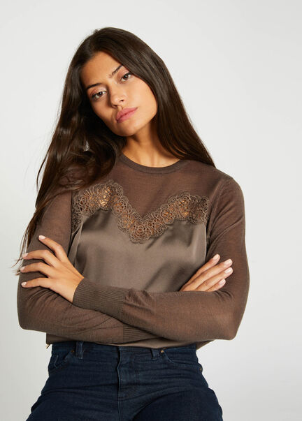Pull manches longues a dentelle taupe femme