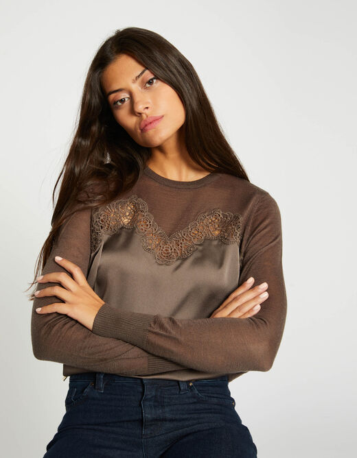 Pull manches longues à dentelle taupe femme