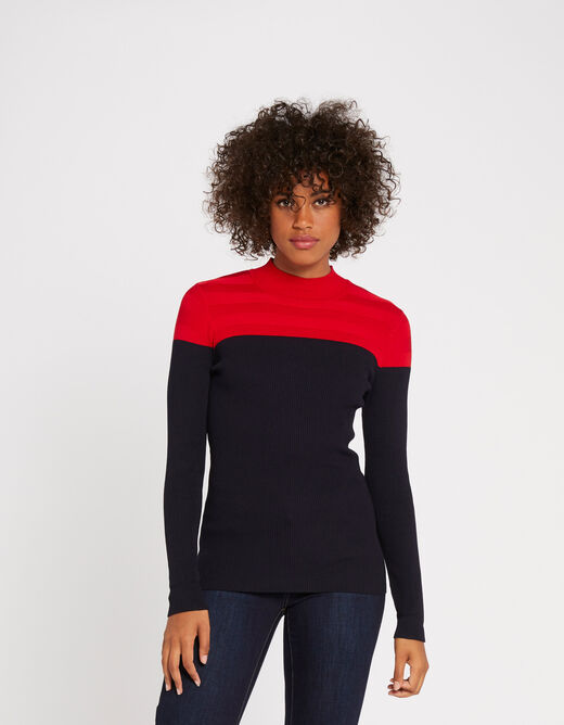 Pull manches longues col montant rouge femme