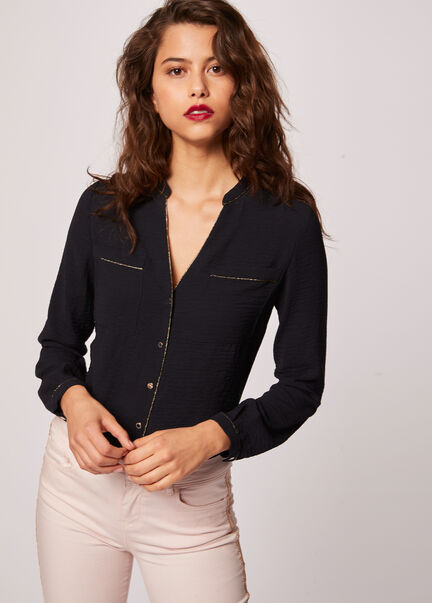 Chemise manches longues poches plaquees marine femme