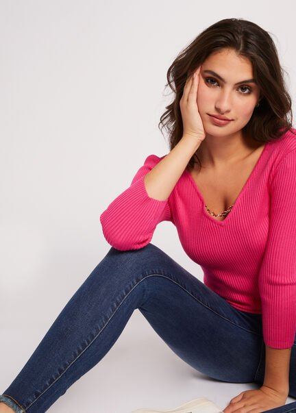 Pull manches 34 a ornement metallique fuchsia femme